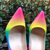 Rainbow Colorful Patent Leather Women Sexy Stiletto Extemely High Heels, Ladies Fashion Pointed Toe Pumps Party Shoes
