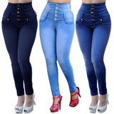 Slim Solid Stretch High Waist Casual Breasted Jeans