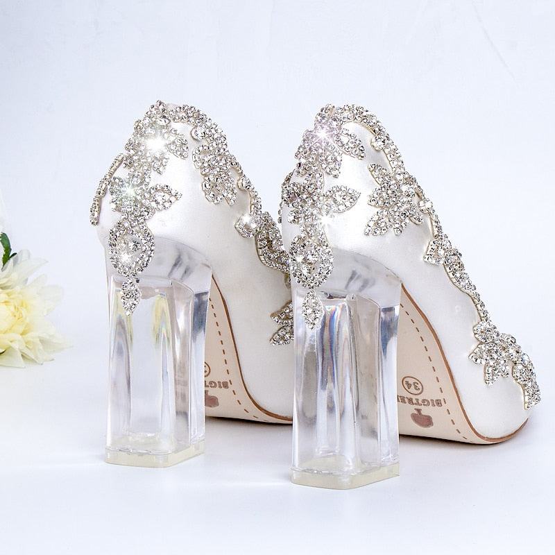 Wedding Shoes Bride Clear Heels Crystal Pumps Christmas Day Evening Party Luxury Queen Satin Silk 10Cm Square Heel Plus Size