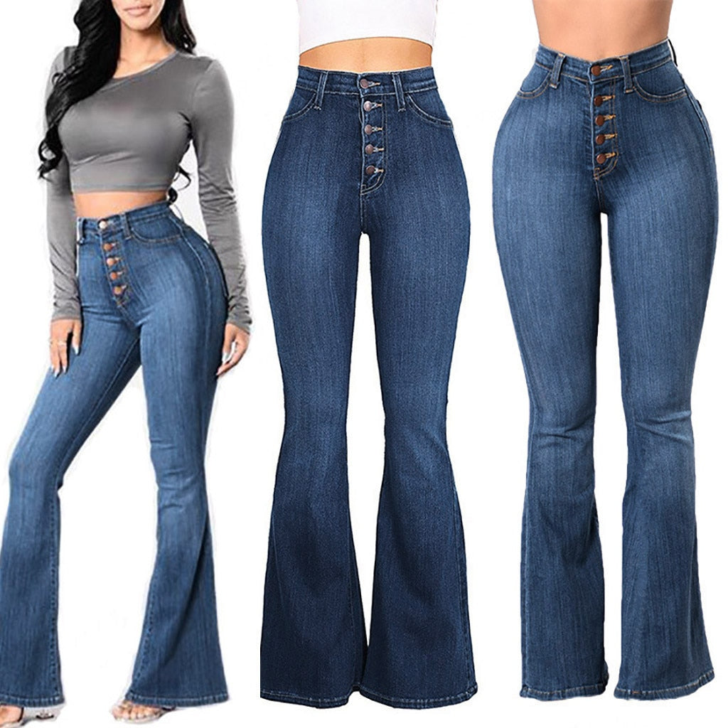 Elastic Plus Loose Denim Pocket Button High Waist Jeans - Sheseelady