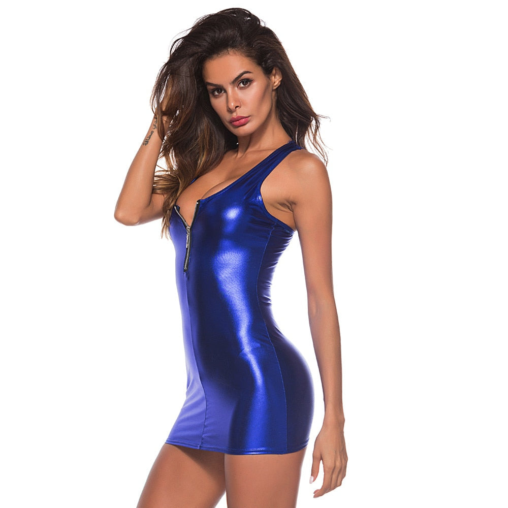 Artificial Leather Bodysuit Zipper Midi Dresses - Sheseelady