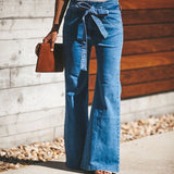 Retro Bell Bottom Stretch High Waist Wide Leg Jeans