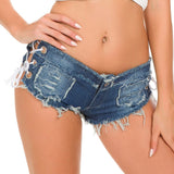 Women Sexy Jeans Shorts Summer Fashion Low-Waist Denim Knotted Band Mini Short Beach Casual Shorts Sexy Club Party Bikini Bottom
