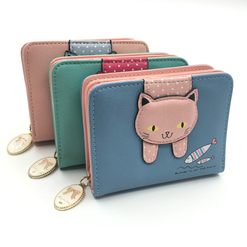 New Style Pu Leather Multi Function Cute Cat Wallet For Girls