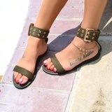 Women Flats Sandals Gladiator Summer Transparent Open Toe Jelly Shoes Ladies Vintage Roman Buckle Strap Beach Sandals Big Size