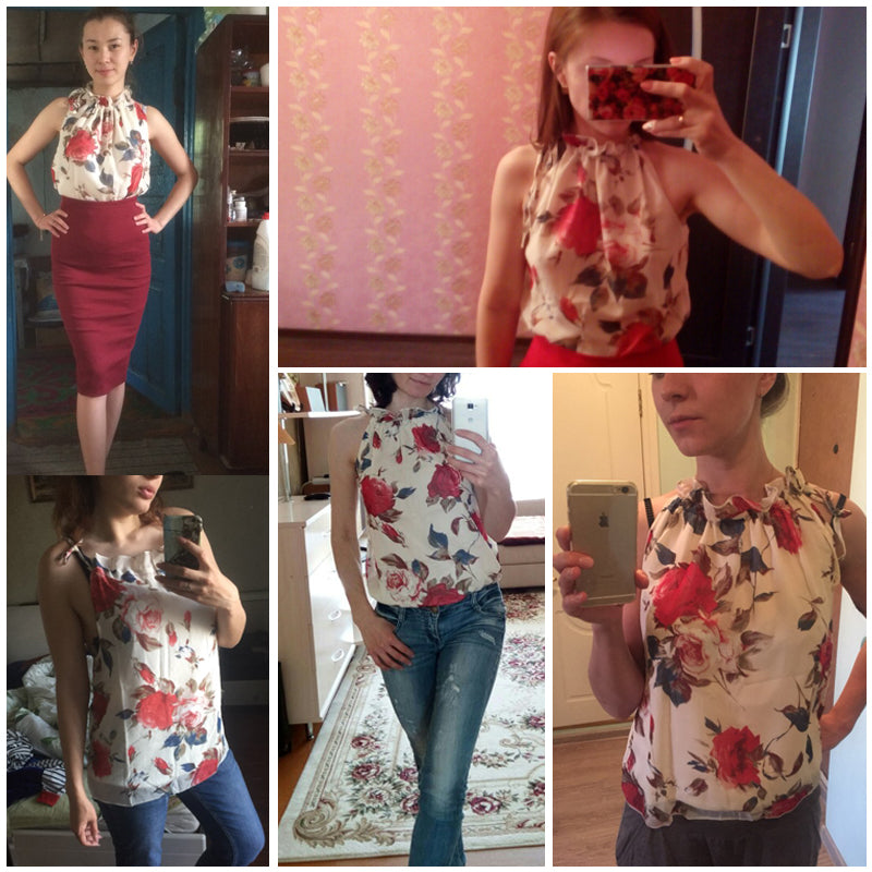 Floral Print Sleeveless Tops Loose Female Casual Blouses - Sheseelady
