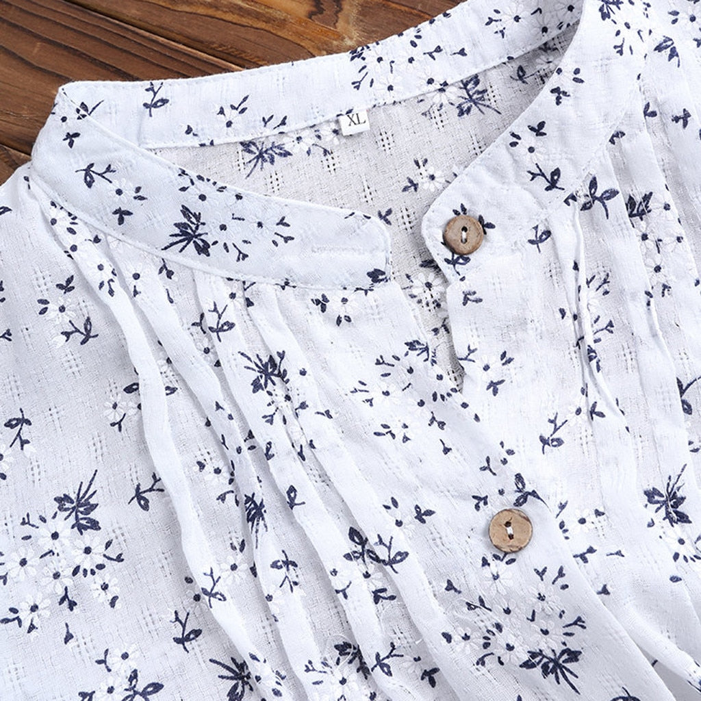 V-Neck Pleated Floral Print Long Sleeve Casual Tops Blouse