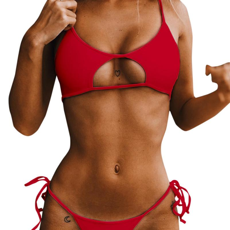 Solid Bandage Hollow Out Split Bathing Beachwear Bikini