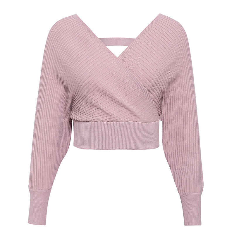 Sexy Elegant V-Neck Women Knitted Skirt Sleeve Ladies Suit