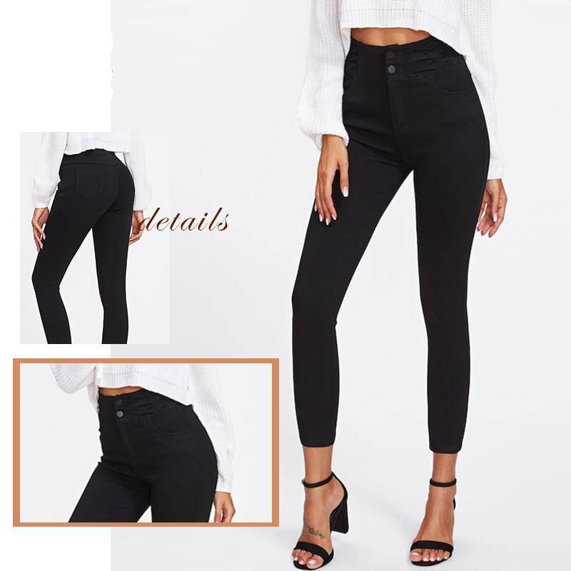 Single Breasted Skinny Pant-Black