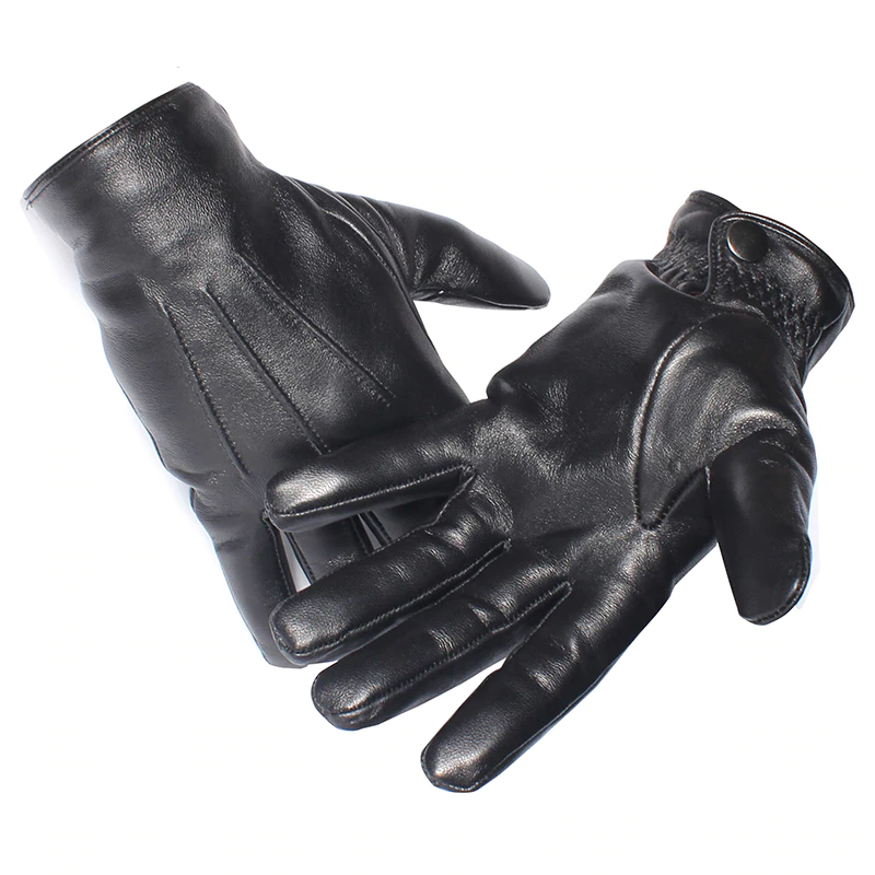 Real Sheepskin Black Touch Screen Gloves
