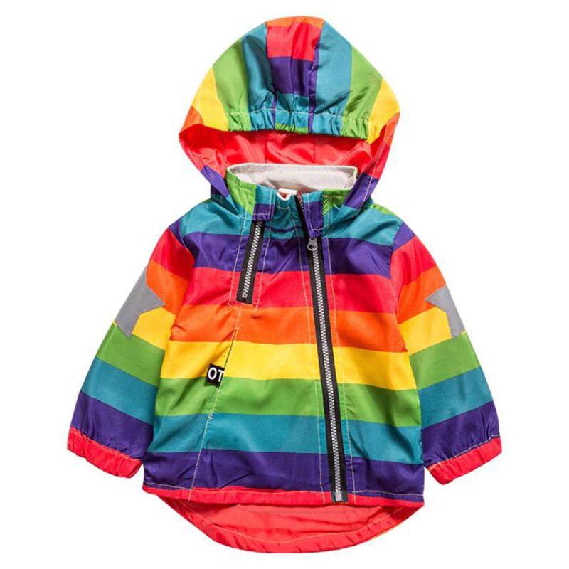 Boys&Girls Rainbow Hooded Zipper Coats For Unisex - Sheseelady