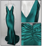 Love&Lemonade . Green Deep V-Neck Open Back Slim Flash Material Maxi Dress  LM1099