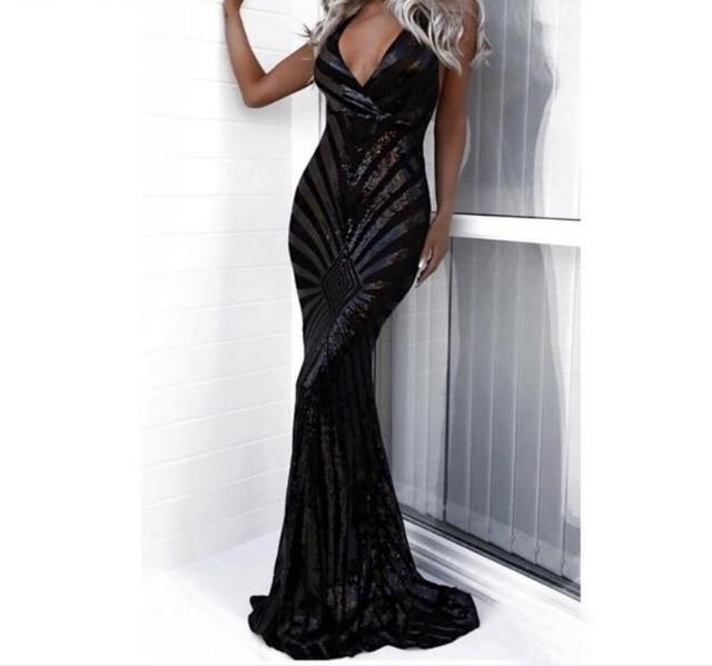 Long Spaghetti Straps Black Maxi Evening Party Dress