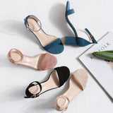 New Women Shoes Buckle Flock Leather Heel Sandals Square Heel High Heels Shoes Big Size