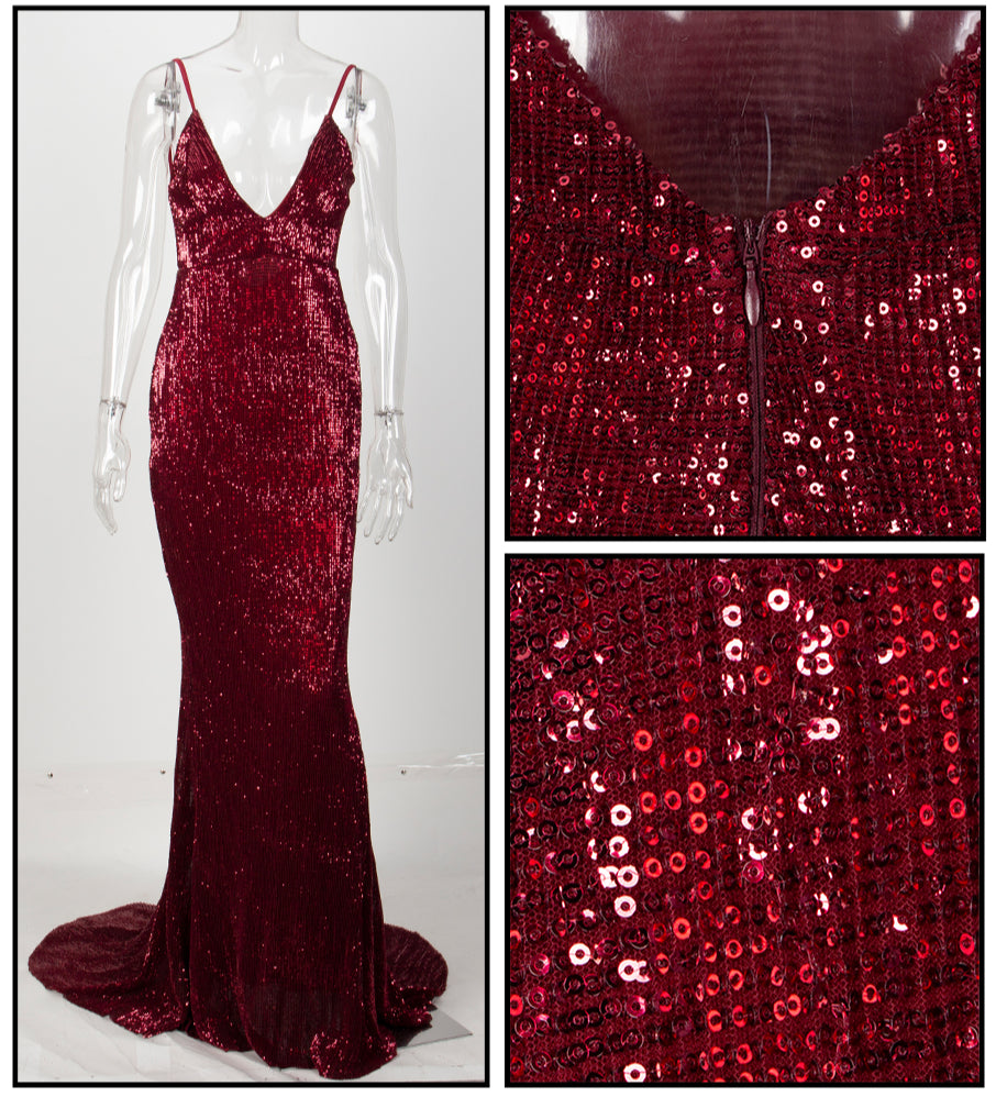Love&Lemonade   Deep V-Neck Red Wine Open Back Fishtail Slim Elastic Sequins Long Dress LM1326