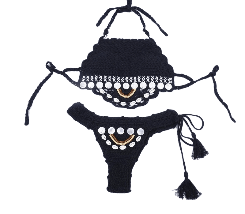 Brazilian Women Swimwear With Shell Hand Knitted Halter - Sheseelady