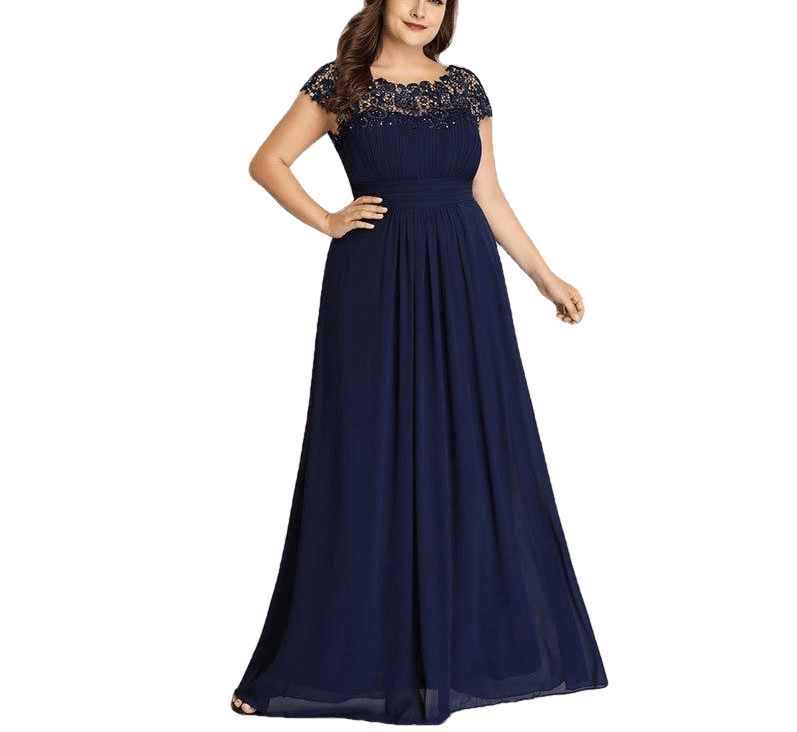 Lace Appliques O-Neck A-Line Navy Blue Ladies Formal Party Dress