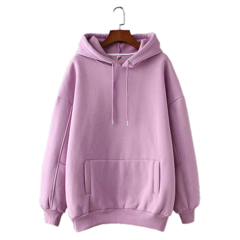 Fleece Hoodie Sweatshirts Winter Oversize Ladies Pullovers Warm Pocket Hooded Jacket For Women