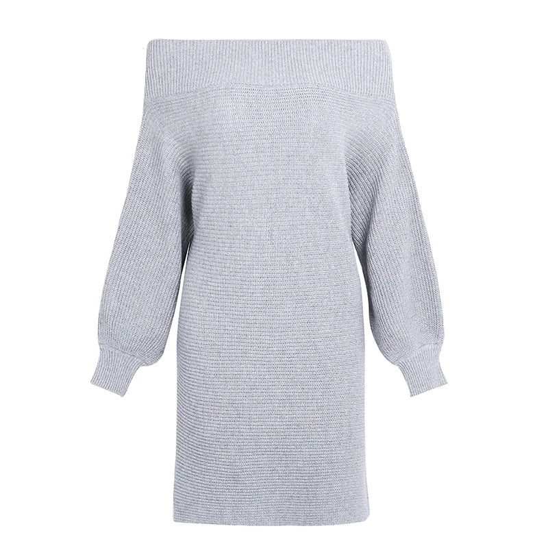 Elegant Off Shoulder Long Knitted Sweater Loose Winter Pullover Dress