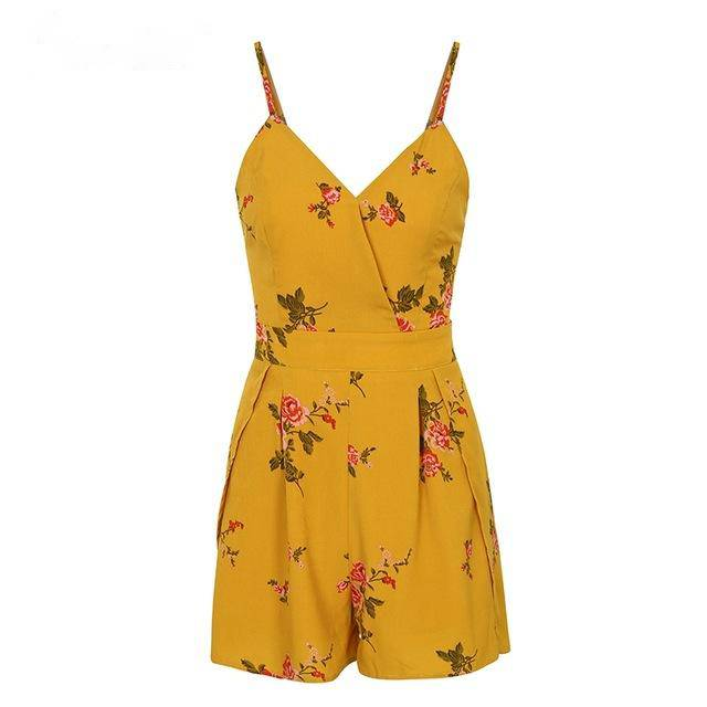 Sexy V Neck Print Boho Jumpsuit Romper Backless Tie Up Short Jumpsuit Women Pleated High Waist Casual Summer Playsuit