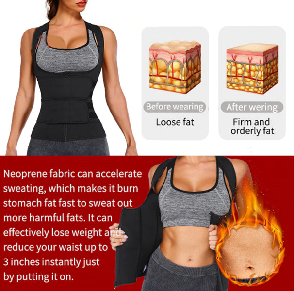 Zipper Double Belts Waist Corset Weight Loss Slimming Sweat Vest Workout Body Tank Top