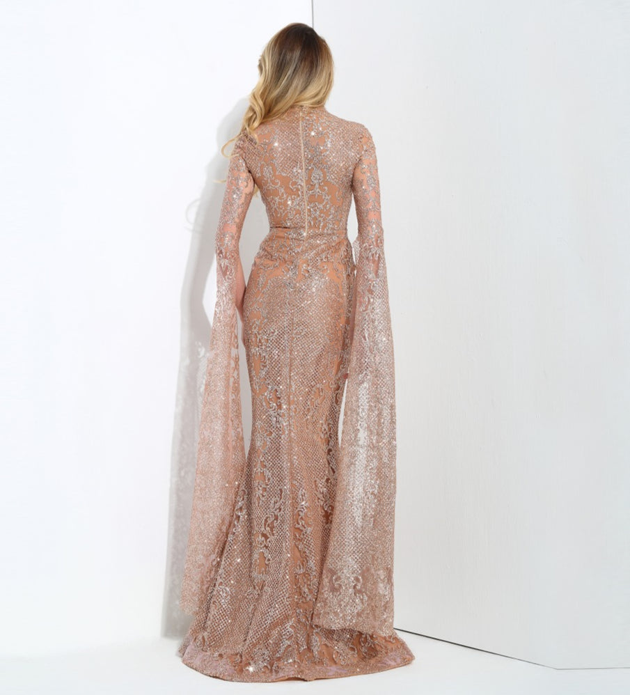 Love&Lemonade Rose Gold Cut Out Speaker Long Sleeve Geometry Glitter Glued Long Dress LM0702 Autumn/Winter