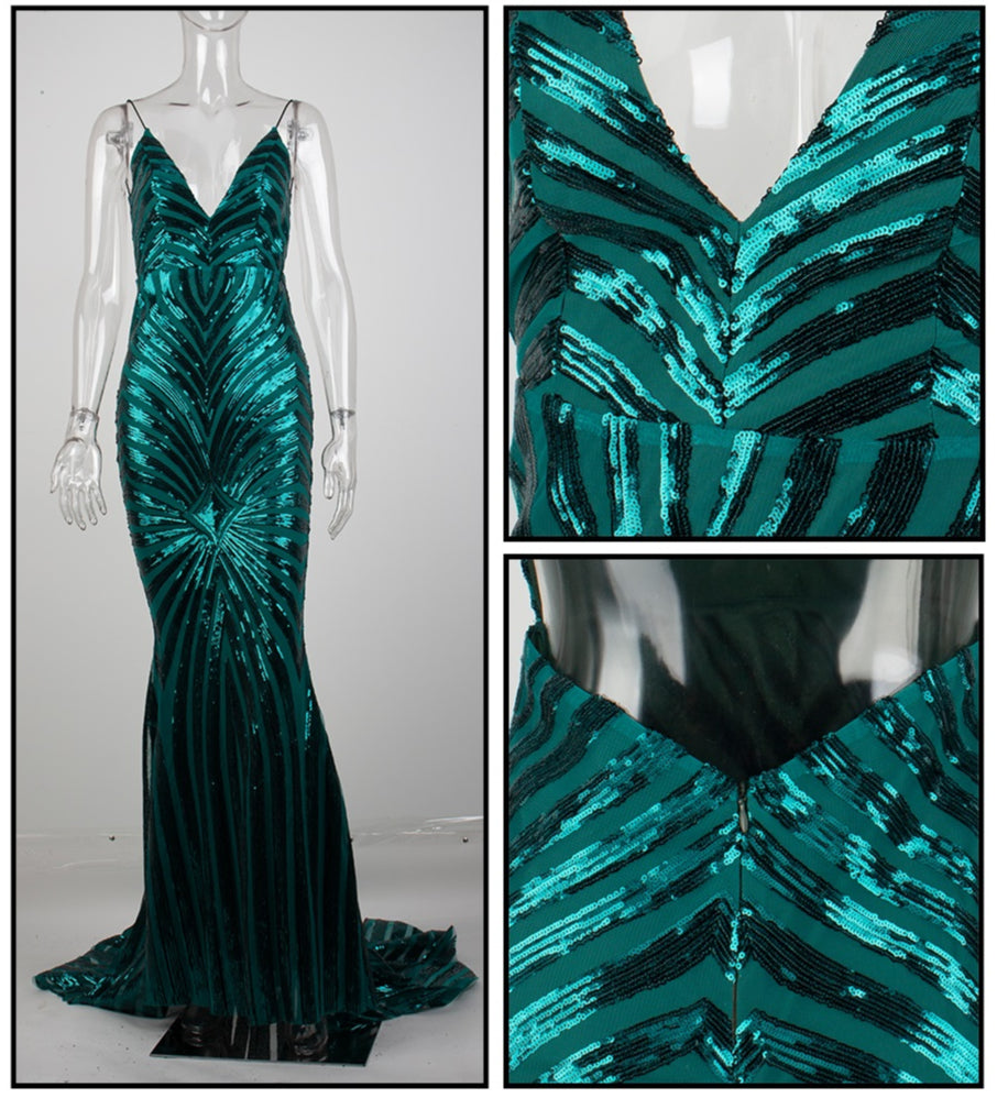 Love&Lemonade Sexy Green Deep V Neck Open Back Geometry Sequins Long Dress  LM81225