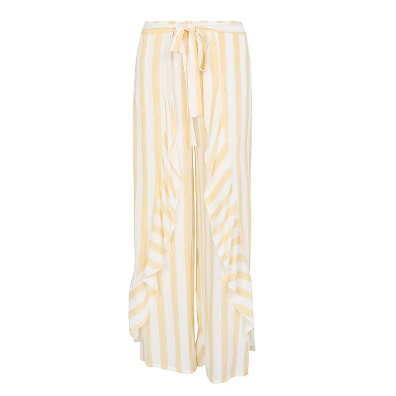 Stripe Split Wide Leg Pants Bottom Sash Ruffle High Waist Trousers For Women