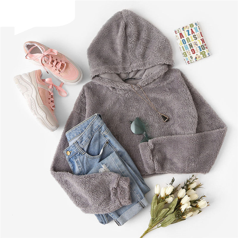 Autumn Casual Solid Drop Shoulder Crop Teddy Hoodie Sweatshirt Fashion Women Pullovers Sweatshirts
