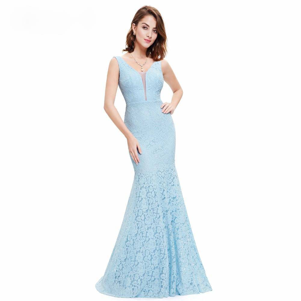 Lace Mermaid Christmas V-Neck Elegant Prom Dresses