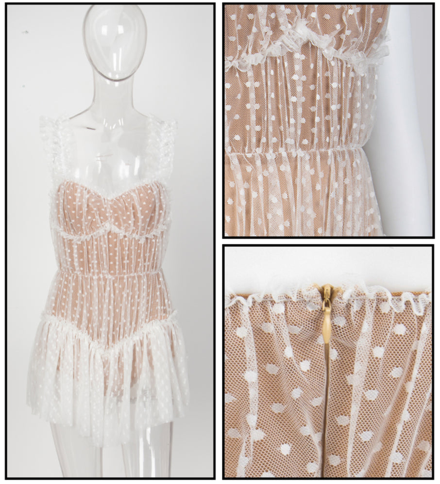 Love&Lemonade  White Frill Ruffle Dot Mesh Playsuit LM81256