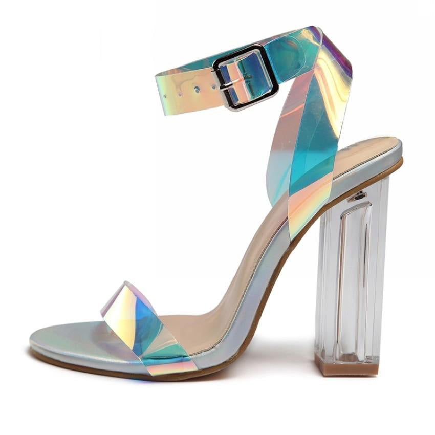 Women Sandals Shoes Celebrity Wearing Simple Style Pvc Clear Transparent Strappy Buckle Sandals High Heels Shoes Woman