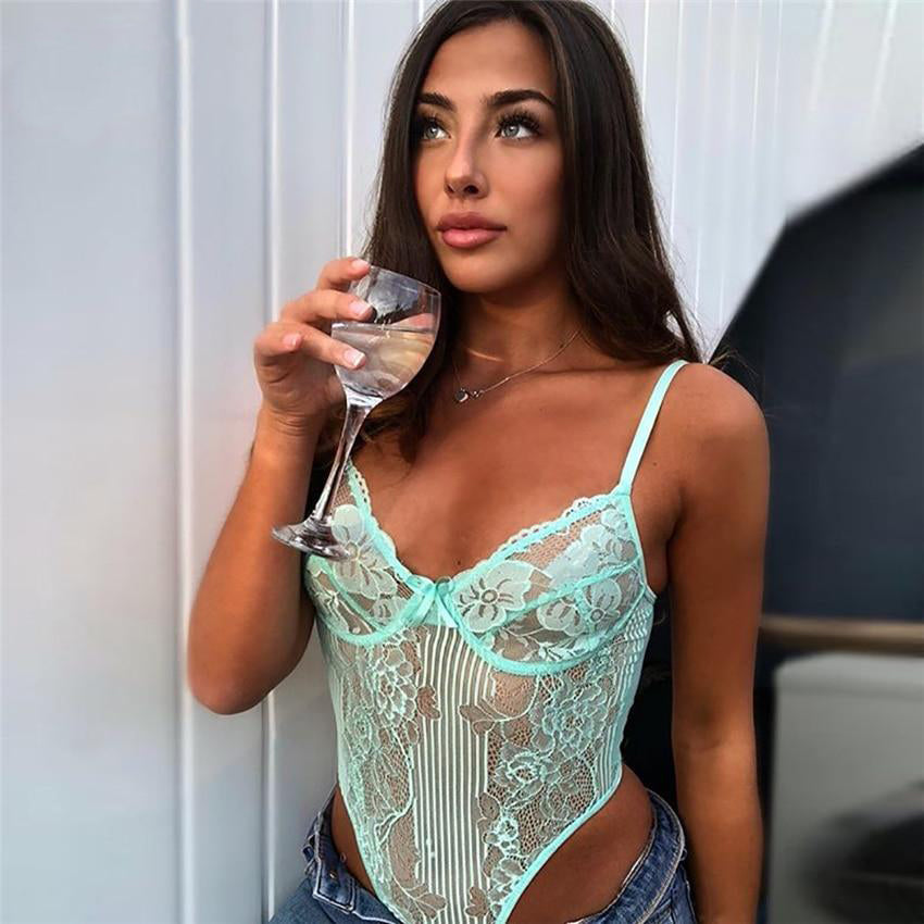 Spring Lace Bodysuit Women Floral Embroidery Bow Tie Hollow Out Sexy Bodysuit Jumpsuit Overalls Party