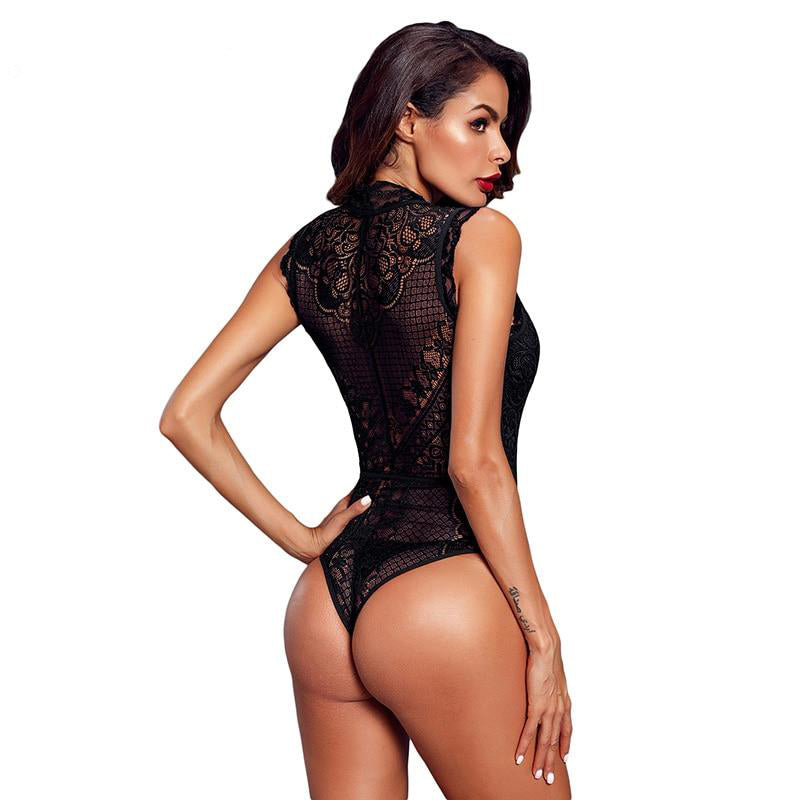 Women Black Hollow-Out Lace Bodysuit Sexy Sleeveless V Neck Body Tops Female Club Wear Skinny Transparent Bodysuits