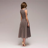 Women Elegant Thin Dot Printing Mid-Calf Casual Vintage Dress