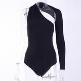 Sexy One Shoulder Backless Skinny Bodysuits Women Autumn Long Sleeve Hollow Out Rompers Ladies Stretchy Bodysuit