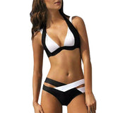 Sexy Bikinis Women Swimsuit Summer Tops Beach Wear Bikini Set Push Up Swimwear Bandage Bathing Suit Black And White Xl