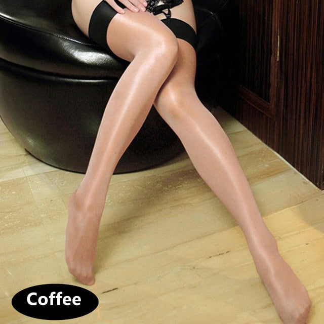 Women'S Multi-Color Oil Shine Shiny Thigh High Stockings Sexy Ladies Collant Lolita Glitter Lustre Legs Rib Top Opaque