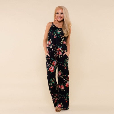 Women Super Comfy Floral Jumpsuit Fashion Trend Sling Print Loose Piece Trousers