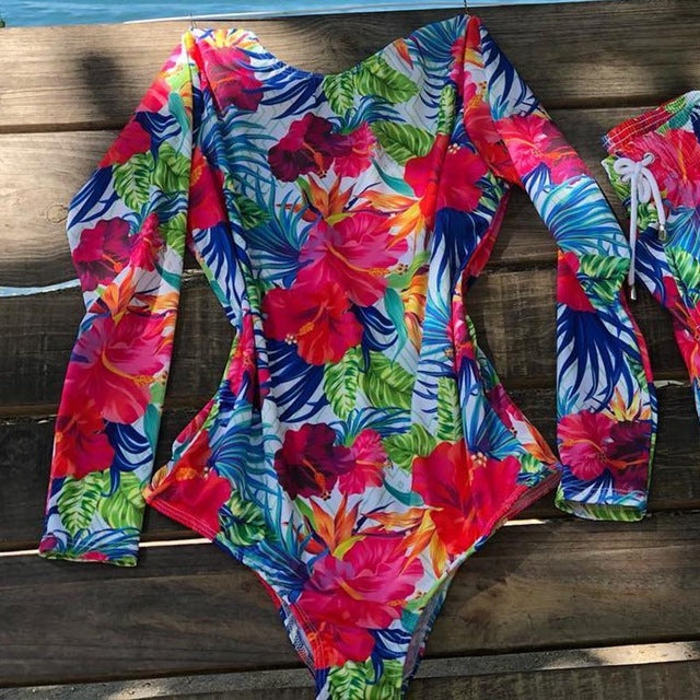 Floral Print One Piece Swimsuit Long Sleeve Vintage Bikini - Sheseelady