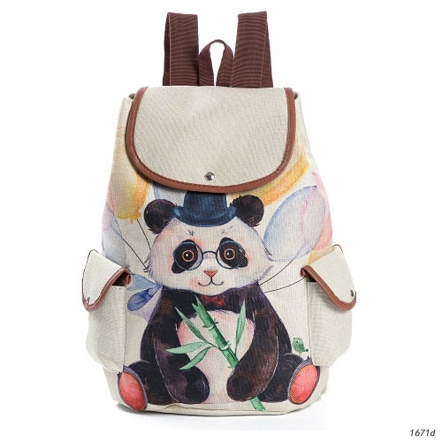 Lovely Cat Printed Canvas School Backpack For Teenager - Sheseelady