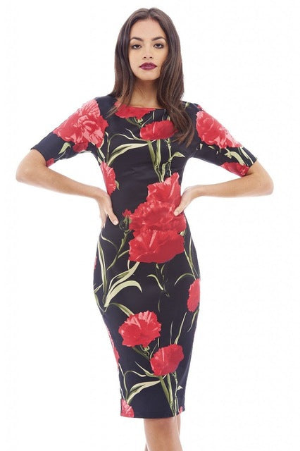 Women Dress Elegant Floral Print Work Business Casual Party Summer Sheath Vestidos