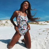 Sexy One Piece Swimsuit Hollow Out Monokini Print Bikini
