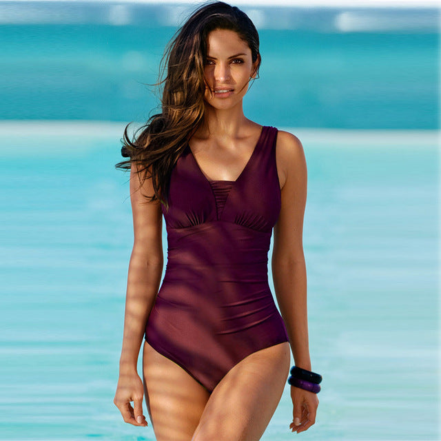 One Piece Swimsuit Female Solid Bathing Suit Vintage Bikini