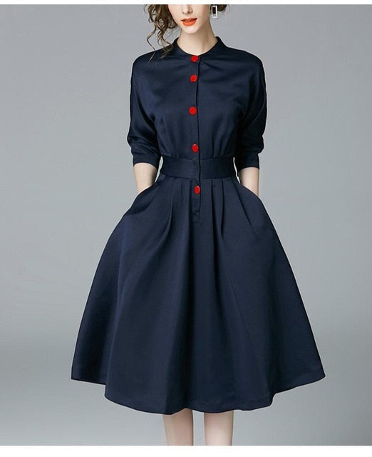 Elegant Vintage Slim 3/4 Sleeve A Line Office Dress - Sheseelady