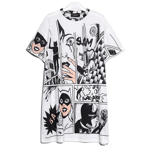 Korean Style Casual Cartoon Print Lady Cute Midi Loose Dress