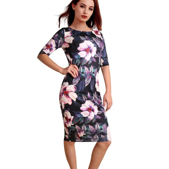 Elegant Floral Print Work Casual Party Dress - Sheseelady