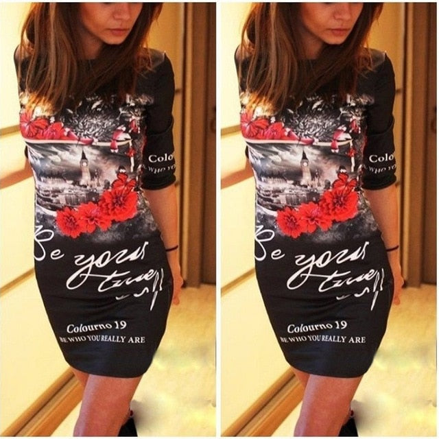 Plus Size Short Sleeve Cartoon Print Slim Mini Dress