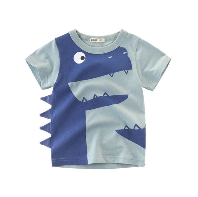 Summer Cotton Short Sleeve T-Shirts For Young Boys